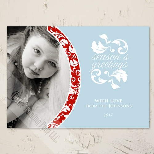 Red and Blue Damask Photo Christmas Card
