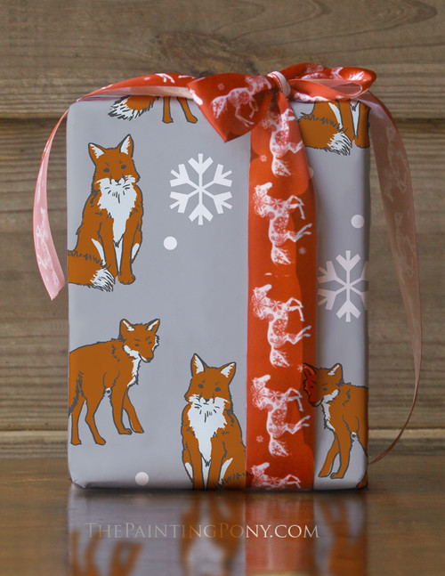Winter Fox Pattern Gift Wrapping Paper
