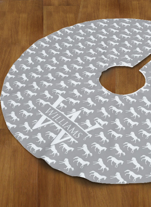 Gray Galloping Horse Personalized Christmas Tree Skirt