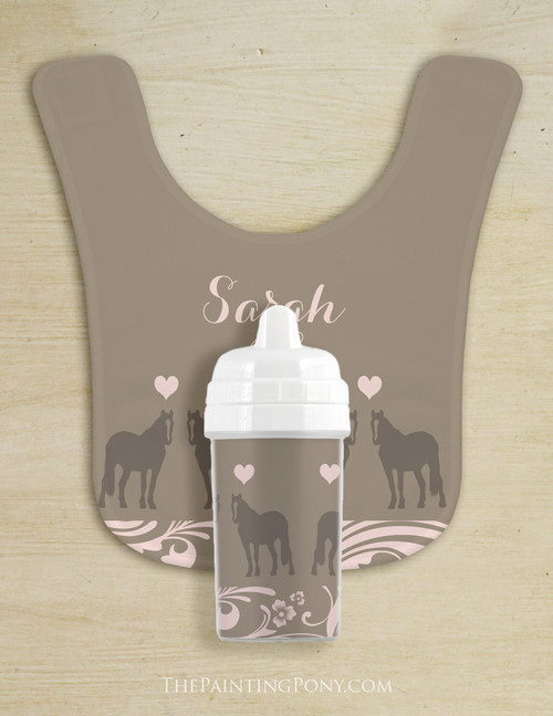 Personalized Country Horse Baby Bib & Sippy Cup Set