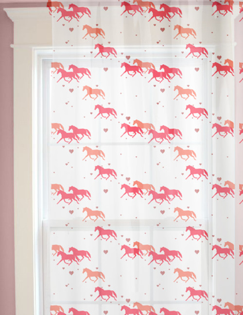 Trotting Ponies and Hearts Equestrian Window Curtains