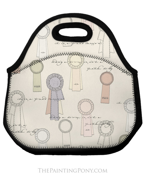 Horse Show Ribbons Pattern Equestrian Lunch Tote Bag