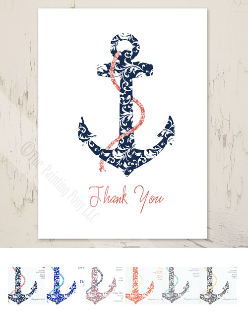 Ship Anchor Wedding Thank You Cards (10 pk)