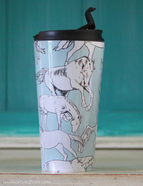 Horses all Over Travel Tumbler