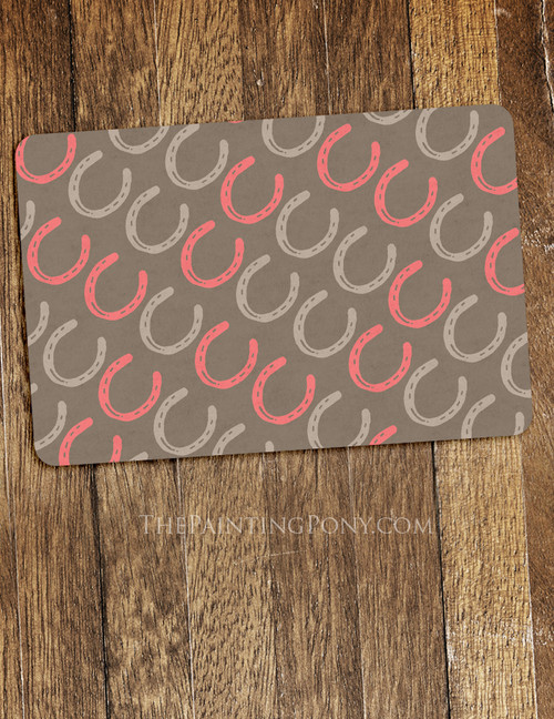 Cute Horse Shoe Pattern Equestrian Themed Pet Food Mat