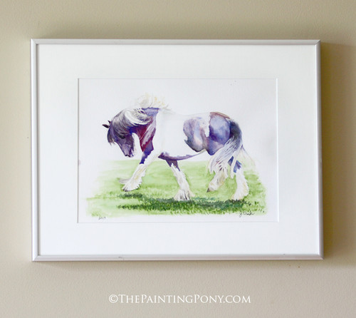 "Original ""Feathers"" Gygpsy Vanner Equestrian Watercolor Painting"