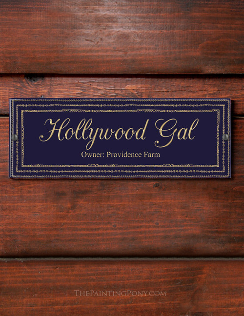 Navy and Gold colored Art Decor themed horse stall name plate