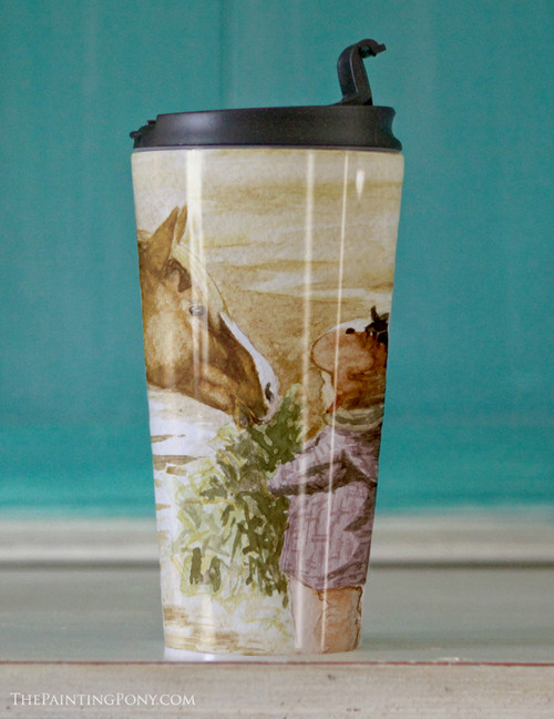 Morning Hay Equestrian Art Travel Tumbler