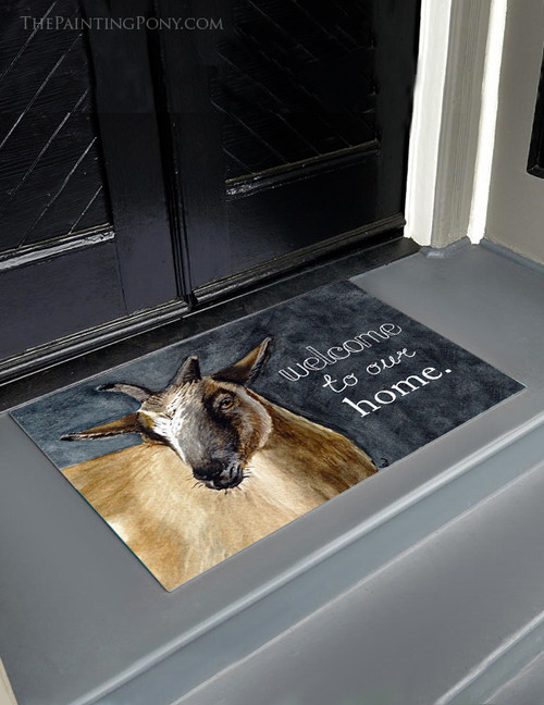 Pygmy Goat Farmhouse Welcome Door Mat