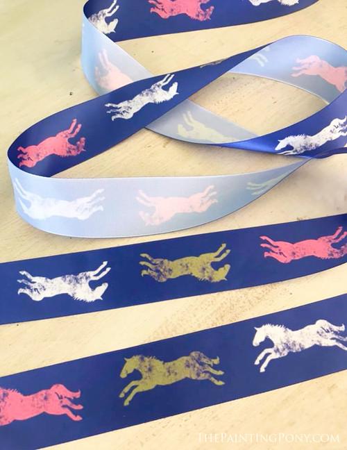 Colorful Galloping Horses Equestrian Ribbon (2 yards)
