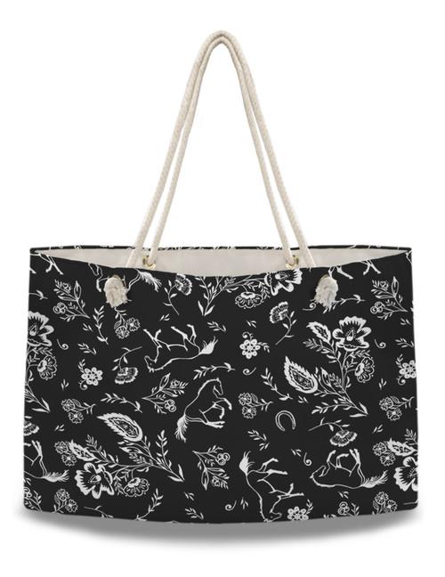 Country Floral Horse Pattern Weekender Tote Bag