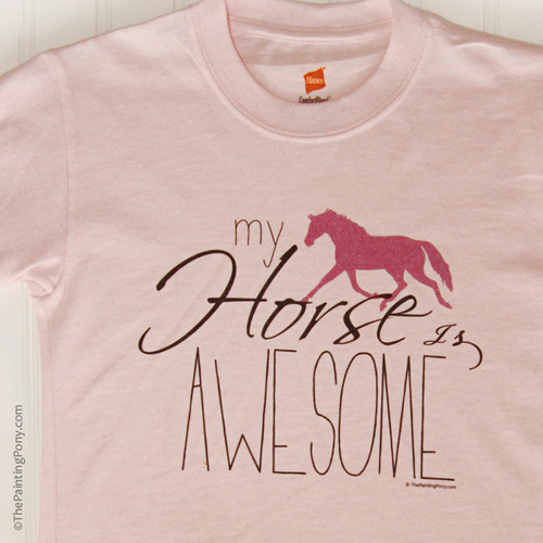 My Horse is awesome Kid's Tee shirt.