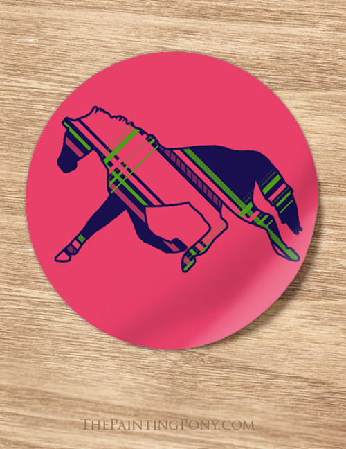 Pink Plaid Horse Birthday Party Stickers
