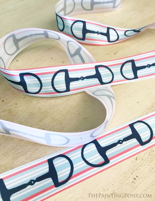 Pink Striped Snaffle Horse Bits Equestrian Ribbon