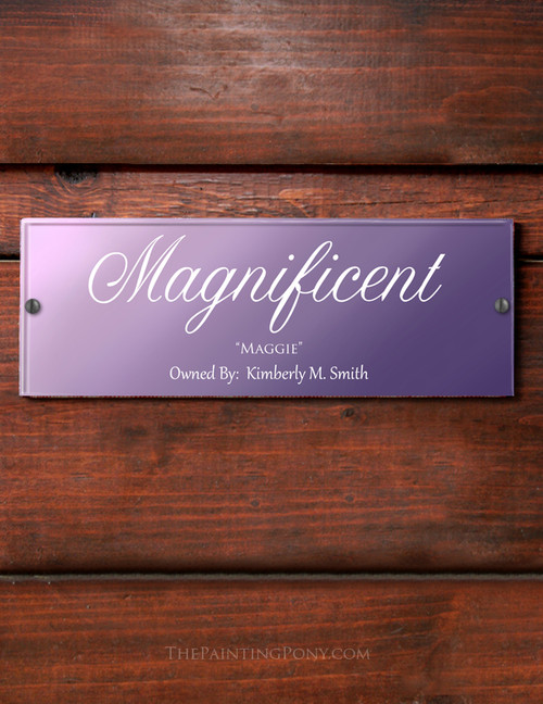 Customized Purple Ombre Acrylic Horse Stall Name Plate