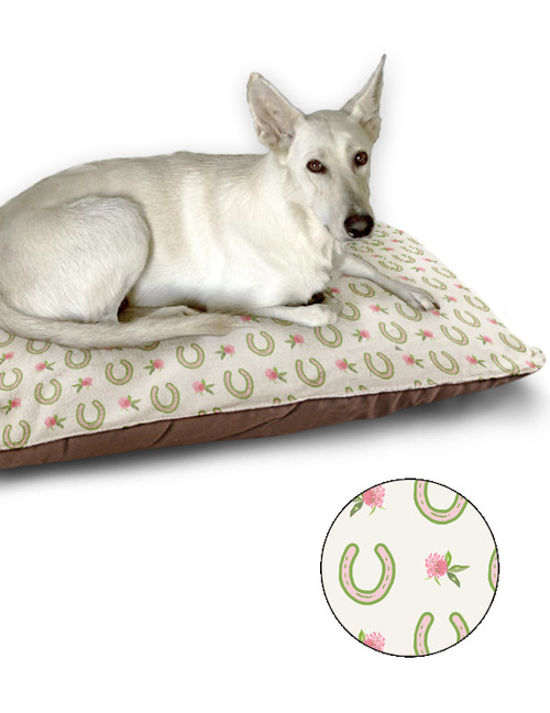 Clover and Horse Shoes Pattern Equestrian Pattern Dog Bed