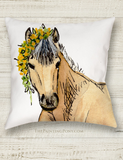 Whimsical Buckskin Pony Art Equestrian Throw Pillow