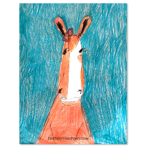 Custom Crayon Horse Head Caraciture Kid Art