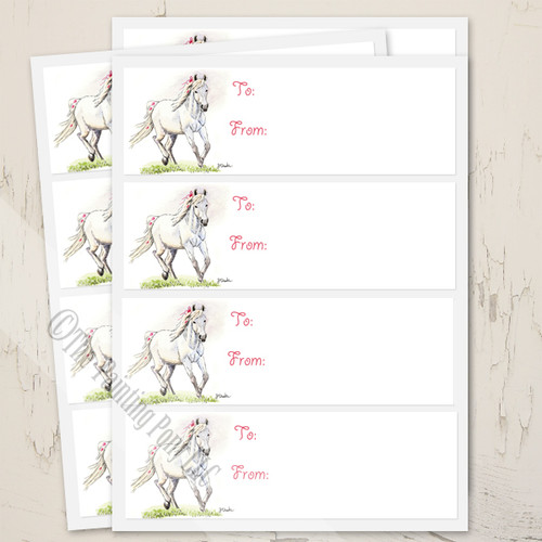 Whimsical White Pony Birthday Gift Tag Labels
