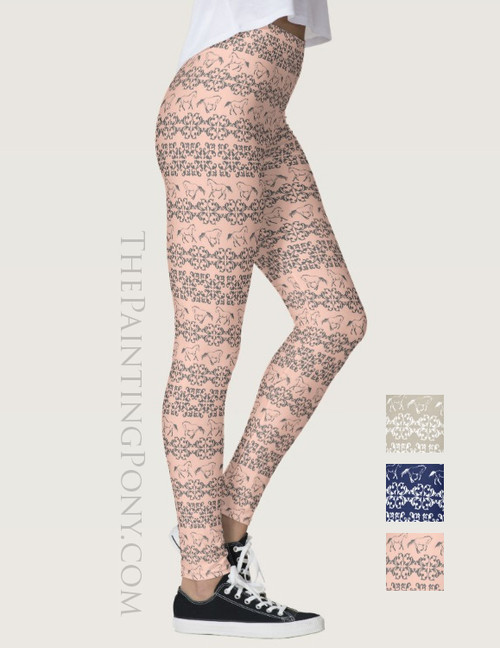 Galloping Horse Damask Pattern Equestrian Leggings