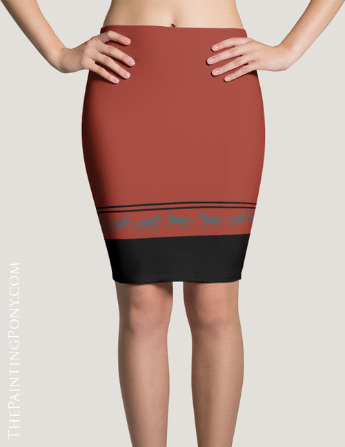 Classic Galloping Horse Striped Border Pencil Skirt