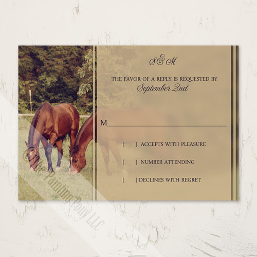 Country Horses Wedding RSVP card (10 pk)