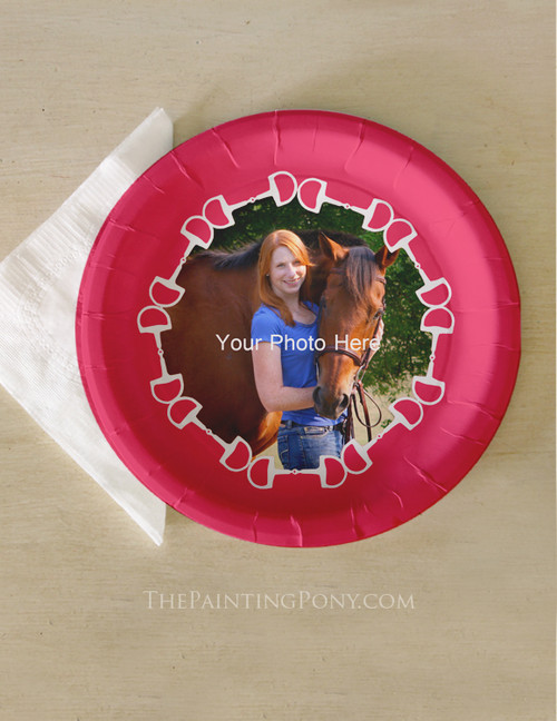 Add Your Own Photo Horse Bit Equestrian Paper Party Plates (8 pk)