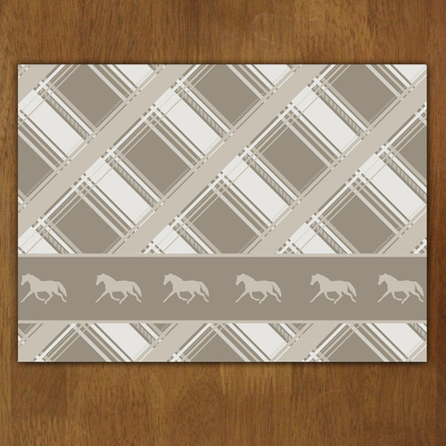 Neutral Plaid Horse Pattern Cloth Placemat