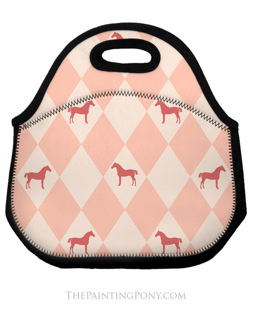 Pink Argyle Horse Pattern Equestrian Lunch Tote Bag