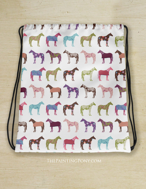 Fun Horses Pattern Drawstring Gym Tote Bag