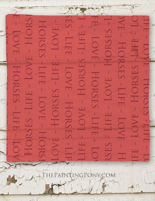 Life Love Horses Typography Square Chiffon Scarf