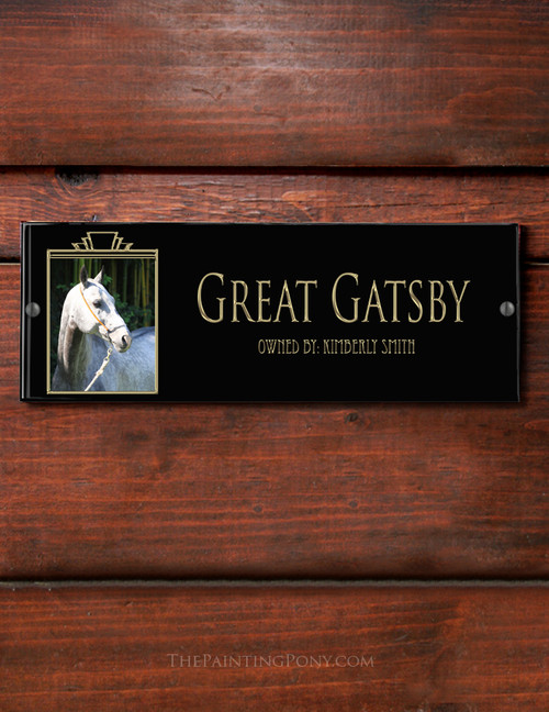 Art Deco Style Photo Acrylic Horse Stall Name Plate - The Painting Pony