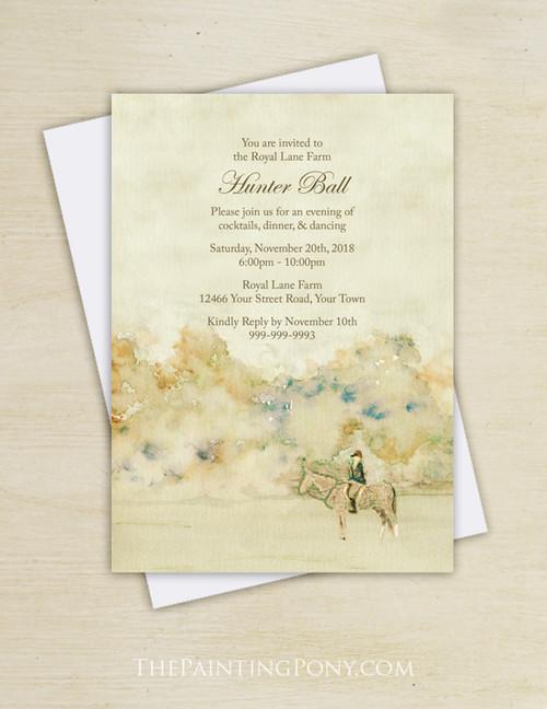 Equestrian Watercolor Hunter Ball Party Invitation (10 pk)