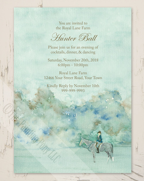 Equestrian Watercolor Hunter Ball Party Invitation (10 pk)