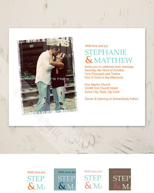 Teal Blue and Orange Modern Photo Wedding Invite