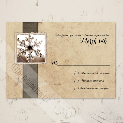 Rustic Snowflake Wedding RSVP card (10 pk)