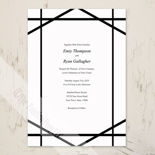 Modern Art Abstract Lines Black and White Wedding Invitation (10 pk)