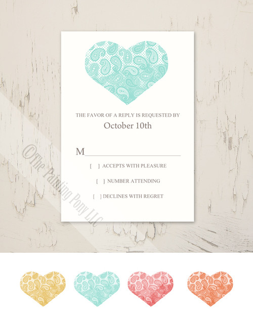 Paisley Heart Wedding RSVP card (10 pk)