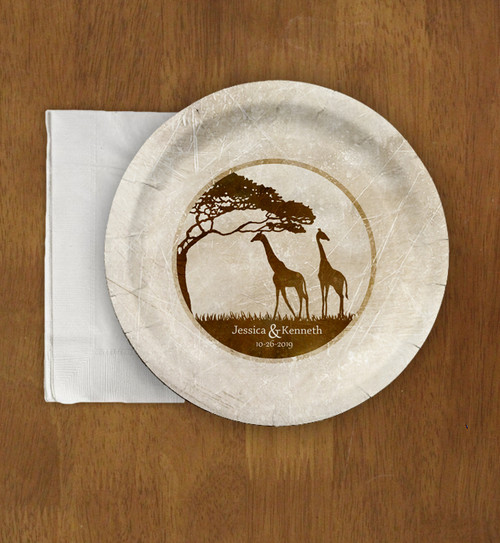 Zoo Wedding African Giraffes Themed Paper Party Plates (8 pk)