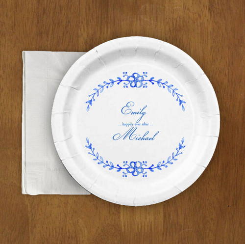 Blue Watercolor country Floral Wedding Paper Party Plates (8 pk)