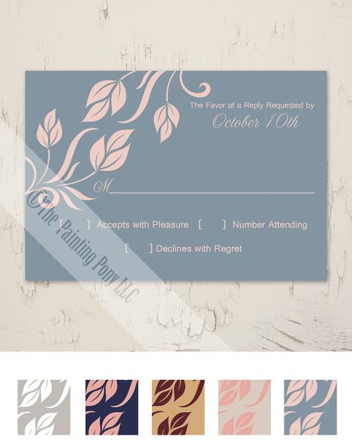 Side Leaves Flourish Wedding RSVP card (10 pk)