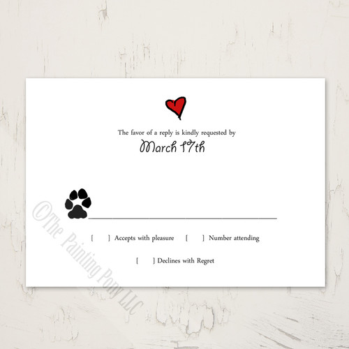 Puppy Love Wedding RSVP card (10 pk)