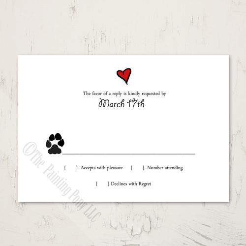Puppy Love Wedding RSVP card (10 pk)