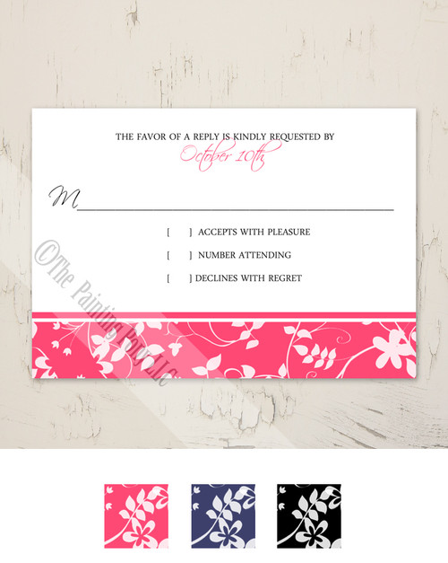 Blue Foral Bar Wedding RSVP card (10 pk)