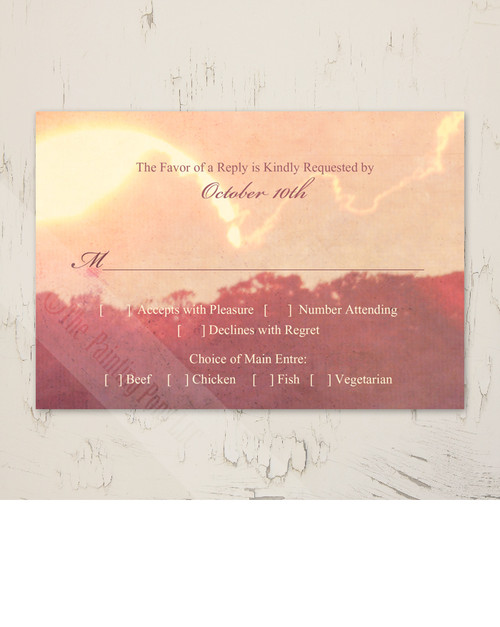 Harbor Sunset Wedding RSVP card (10 pk)