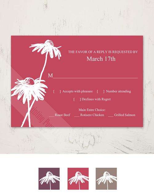 Spring Daisies Wedding RSVP card (10 pk)