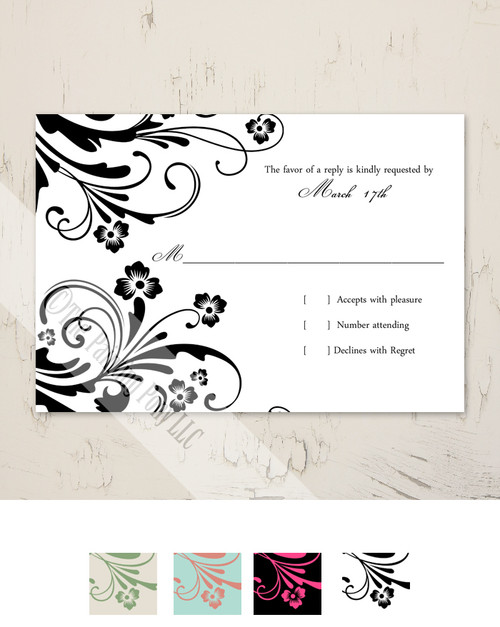 Chic Floral Wedding RSVP card (10 pk)
