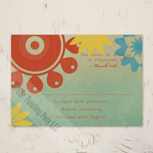 Retro Floral Wedding RSVP card (10 pk)