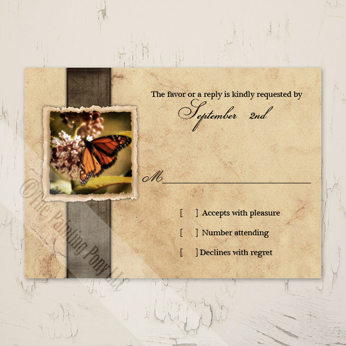 Vintage Monarch Butterfly Wedding RSVP Cards (10 pk)
