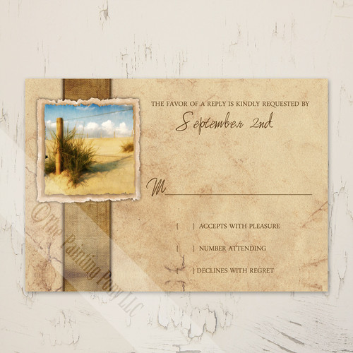 Rustic Beach Sand Vintage Wedding RSVP card (10 pk)